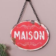 French 'Maison' Shabby Chic Red Metal Plaque